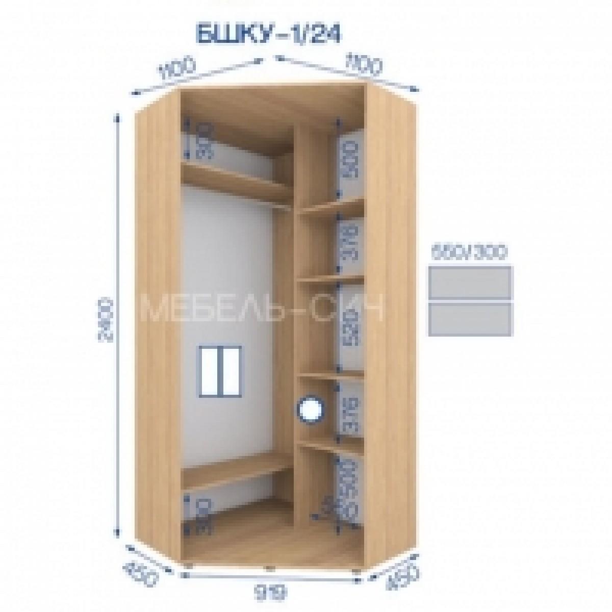 Шкаф - купе угловой, мебель-сич, пшку 1/24 (1104х450х2424) -.