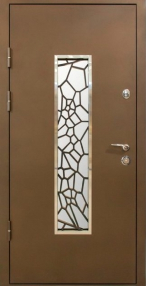 Входные двери MAGDA 142 коричн. стекло+ковка №19