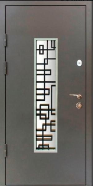 Входные двери MAGDA 143 серая  стекло+ ковка №18